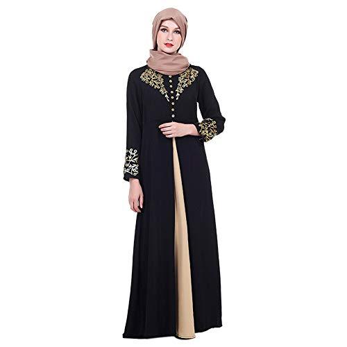 es Kleid für Damen - Golddruck Kleider Arabisches Langarm Abaya Ethnisches Kostüm Dubai Kaftan für Ramadan Schwarz XL ()