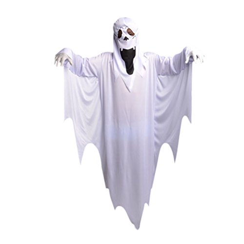 Funny Ghost Kostüm - Fenical Halloween Ghost Cosplay Kostüm Funky Kostüme Maskerade Umhang White Ghost Kostüm Anzug für Kinder (Ghost Kostüm + Handschuhe)