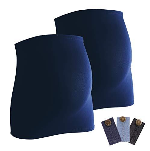 Mamaband Bauchband Doppelpack + gratis Hosenerweiterungen (3 Stück aus Jeans) - Bauchbänder sind von der Marke (R), Dunkelblau, 32-38