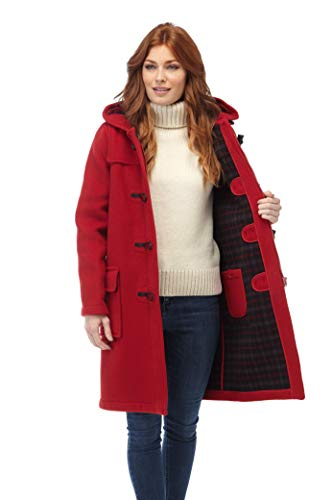 Original Montgomery Damen Duffle Toggle Coat, Rot, Size:36(12) Hooded Duffle Coat