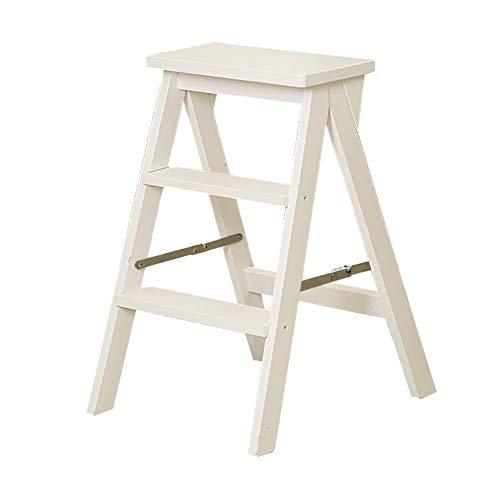 Jiamuxiangsi Klapphocker aus Massivholz mit Leitern, Fußhocker, tragbare Leitern, multifunktionaler Tritthocker, Blumenständer, Trittschemel weiß