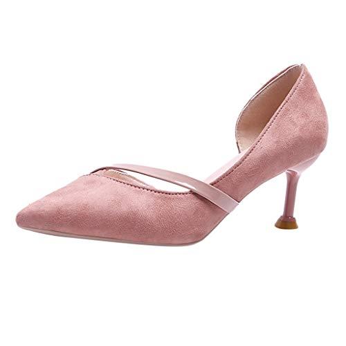 NMERWT Damen Pumps Spitz Single Schuhe Frauen Wild Stiletto Wildleder Hohl Sandalen Spitze Katze mit hohen Absätzen High Heels (Sperrys Für Frauen Schwarz Und Weiß)