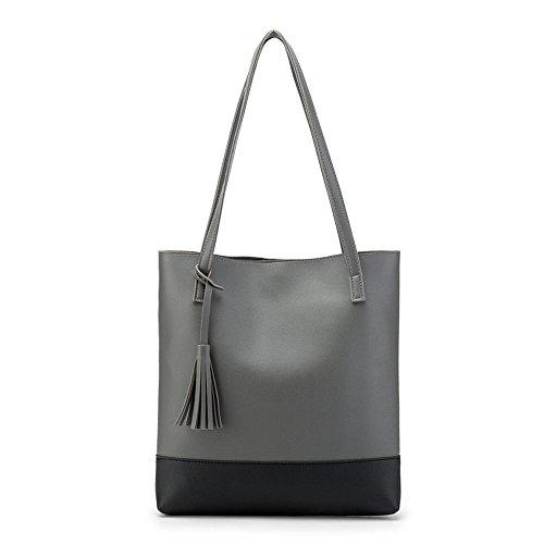 (Handtaschen Damen Sunday Umhängetaschen Hobo PU Leder Geldbörse Top-Griff Taschen Tote Große Schultertaschen Handtaschen 30.5cm(L)*6cm(W)*33cm(H) (33cm, Dunkelgrau))