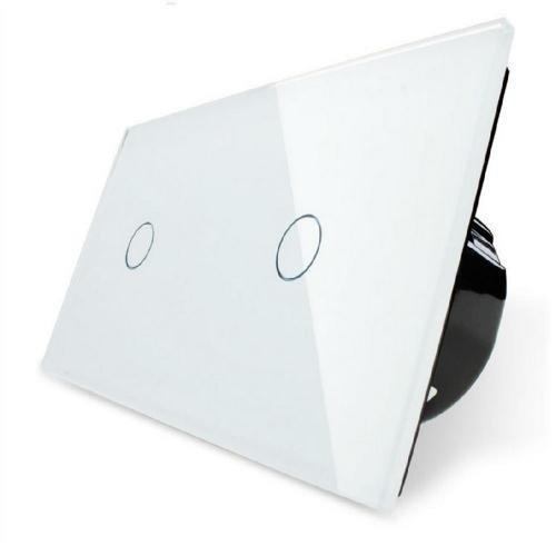 Design Glas Touch Lichtschalter 2 fach Ein/Aus weiß