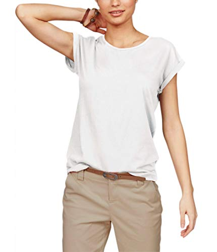 TrendiMax Damen T-Shirt Einfarbig Rundhals Kurzarm Sommer Shirt Locker Oberteile Basic Tops (Weiß, XL) - Casual Damen Winter Mode