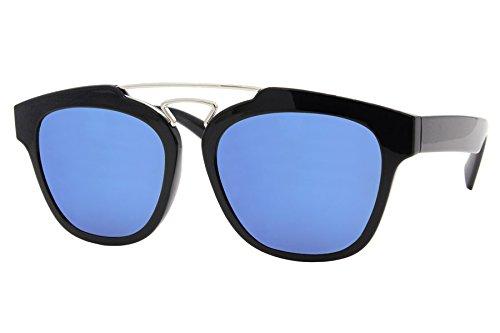 Lunettes de Soleil Cheapass Rondes Noires Transparentes Reflétées UV-400 -Lunettes Design Unisexe Noir1