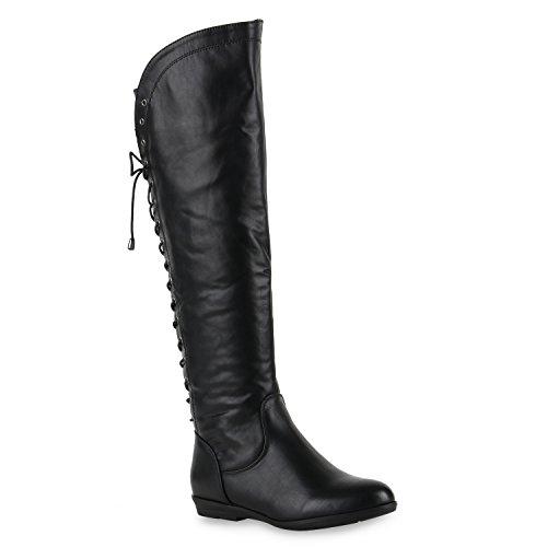 Damen Overknees Lederoptik High Stiefel Boots Basic Look Schwarz Glatt