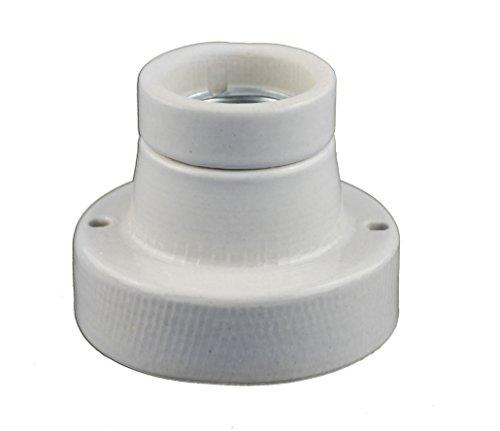 Keramikfassung / Porzelanfassung gerade Deckenfasung mit E27 Gewinde für Glühbirnen / LED mit E27 Gewinde