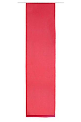 Flächenvorhang Schiebe-Vorhang Schiebe-Gardine Sichtschutz Transparent Unifarben inkl. Zubehör | 245x60cm | Rot