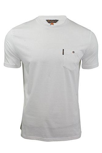 ben-sherman-t-shirt-homme-manches-courtes-uni-poche-poitrine-blanc-s