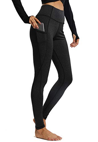CROSS1946 Damen Sport Leggings - Tummy Control - Basic EINFARBIG - Lang Yoga Tights Fuer Gym Fitness Schwarz-1160 Small -