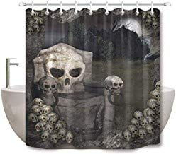prz0vprz0v Surreal Shower Curtain, Skull Shower Curtain, 3D Printing Uncanny Skull Chairs Decorations in Spooky Darkness Atmosphere Halloween Bathroom Curtains, Waterproof Fabric 71 x 79 Inch