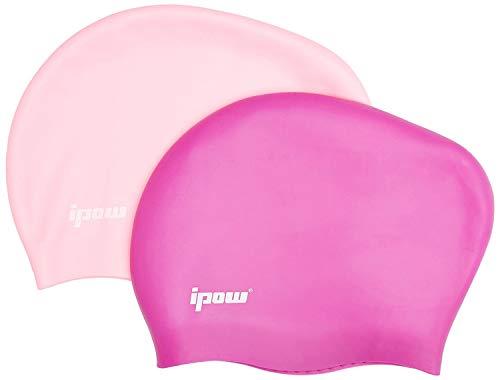 Ipow 2 Stück Silikon Badekappe Hochwertige Bademütze Badehaube für Lange Haare Gesund und Warm Swim Cap (Lila + Pink)