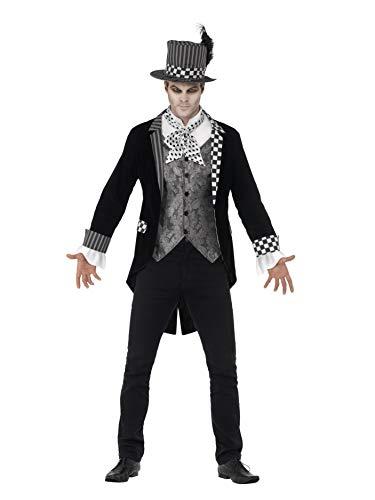 Smiffy's 44393M - Deluxe Dunkel Hatter Kostüm mit Jacke Mock Shirt und Top Hat