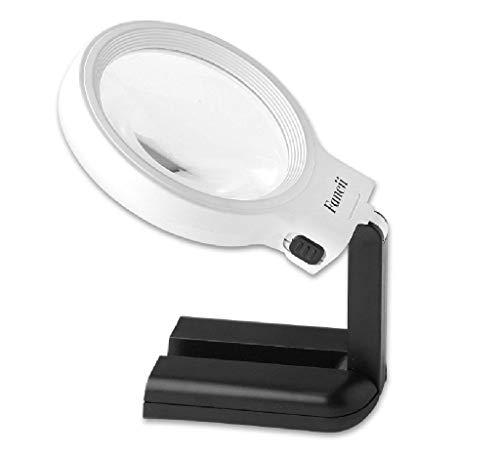 Desktop-Lupenleuchte Fancii LED beleuchtete freihändige Lupe mit hellem Stand - 2X 4X große bewegliche belichtete Lupe für das Lesen, Inspektion, Löten, Handarbeiten, Reparatur, Hobby u HD-Glas Stand-lupe