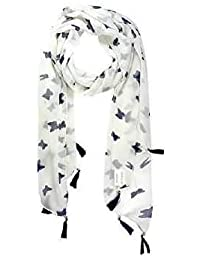 ICW Girls' Cotton and Chiffon Scarf(ICW0045,Black and White)