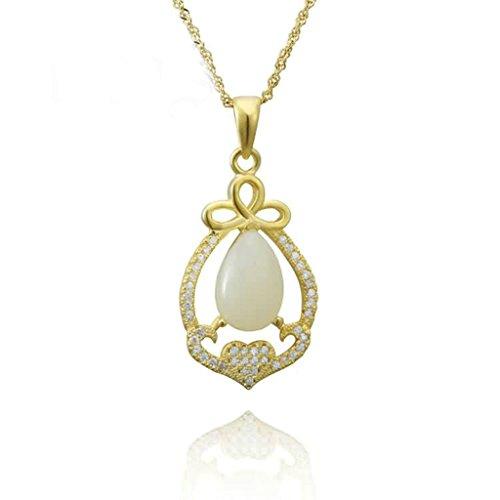 Bishiling Schmuck Kette Anhänger Damen Silber 925 Zirkonia Tropfen Gold (Medallion Halskette Gold Kostüm)