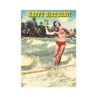 "Bikini everyday cards 5""x7"" Surfer Waiter Happy Birthday - Greeting Card"