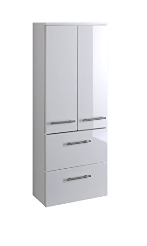 lifestyle4living Bad Midischrank in Weiß Hochglanz | Badschrank hat 2 Türen und 2 Einlegeböden | Schrank ist 50 cm breit und 130 cm hoch