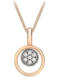 Carissima Gold Women's 9 ct Rose Gold Cubic Zirconia Disc Loop Pendant on Diamond Cut Curb Chain Necklace