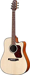 Walden D555CE Natura Acoustic Electric Guitar with Cutaway, Dreadnought, Natural