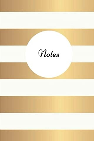 Notes - Gold and White Stripes: (6 x 9) Primary