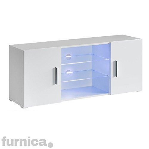 FURNICA TV Möbel Lowboard, 120x35x51cm, Weiß Hochglanz + Mehrfarbig LED