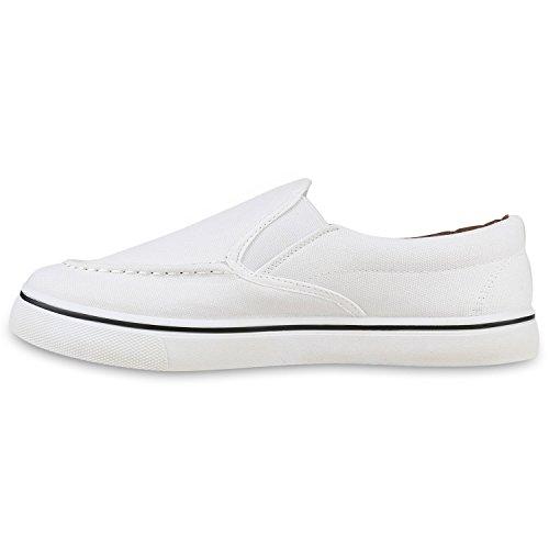 Herren Sneakers Slip-Ons | Sportliche Schnürer | Slipper Flats Sneaker | Stoffschuhe Creme Weiss
