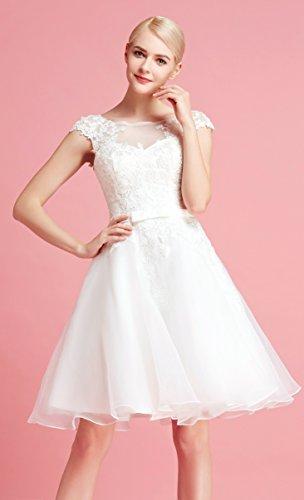 Brautkleid Knielang Weiß mit Stickereien - 4