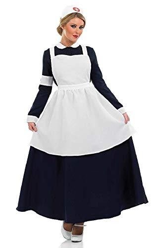 Viktorianischen Krankenschwester Kostüm - Fancy Me Damen 1. Weltkrieg WW2 alt Viktorianisch Krankenschwester Florence Nightingale Kostüm Kleid Outfit UK 8-26 Übergröße - Schwarz/weiß, UK 24-26