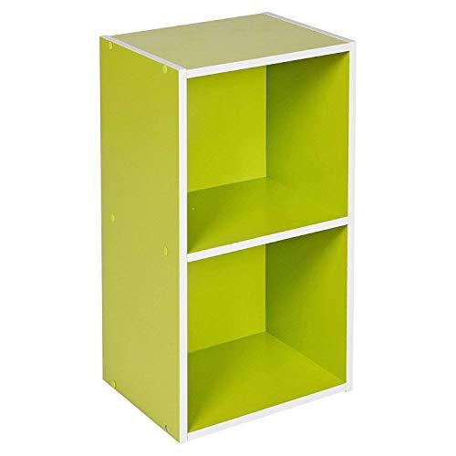 Étagère en bois à 1, 2, 3, 4 étages, bibliothèque, vitrine, unité de rangement, Green, 2 Tier