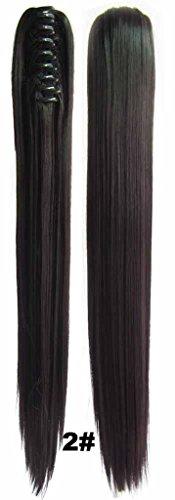 Queen Wig longue ligne droite Jaw Griffe clip cheval clip sur les cheveux pi¨¨ce poney chute d'extension - 2# Dark Brown