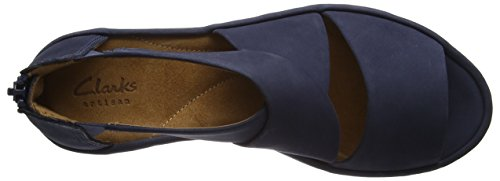 Clarks Clarene Glamor, Women's Wedge Heels Sandals, Blue (Navy Nubuck), 6.5 UK (40 EU)