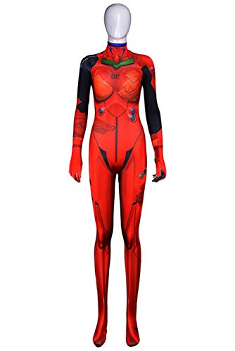RedJade Eva NEON Genesis Evangelion Asuka Langley Soryu Uniform Jumpsuit Overall Bodysuit Outfit Cosplay Kostüm Damen XXL