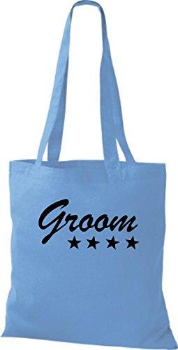 Shirtstown Stoffbeutel JGA Groom Bräutigam viele Farben hellblau