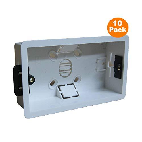 10 x Trocken Futter Zurück Box Bündig Pattress Doppel-2 Gang Elektrische Steckdosen