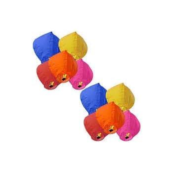 LIFE'S BETTER PowerCube Hot Air Balloon Multicolor Paper Sky Lantern (81 x 30 cm) - Pack of 10