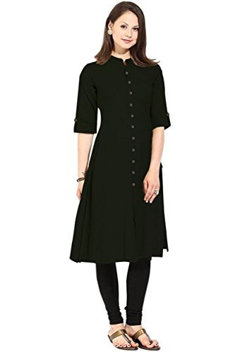 Vastraa Fusion Women's Khadi Cotton Straight Kurti - VASTRAATS0201-XS_Grey and Black
