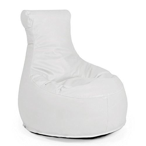 Outdoor Sitzsack Sessel 'Slope Light white' weiß Lederoptik wetterfest frostsicher Gartenstuhl Gartensessel Gartenliege für draußen Outdoor Lounge Gartenmöbel modern