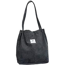 Depruies Corduroy All-Match Crossbody Bags Casual Bolsos de Lona Bolso de Hombro sólido Compras Tote para Mujer niña