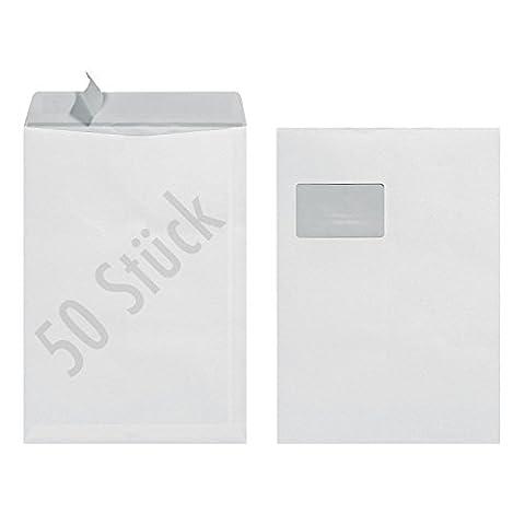 Herlitz Versandtasche C4 90 g Haftklebend mit Fenster, 50 Stück mit Innendruck in Folienpackung, eingeschweißt, weiß (50 Stück)
