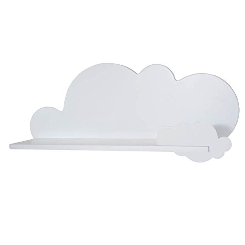 Bainba Estante, Diseño Nube, Madera, Blanco, 69x20x26 cm