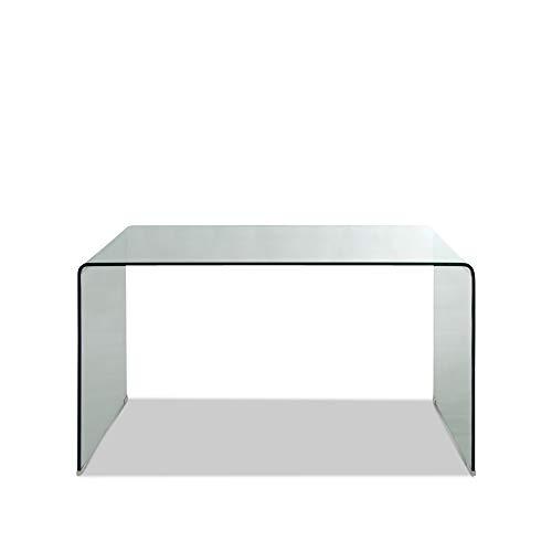 Klar Glas-schreibtisch (Homy Schreibtisch Glas Klarglas 125x70cm transparent Glaschreibtisch Arbeitstisch - Xenia)