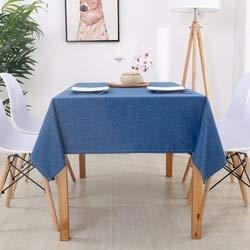 yingteng Einfache Moderne Baumwolle und Leinen Plain rechteckige Feste Tischdecke Anti-Verbrühung wasserdichte Tischdecke Stoff Leinen Tischset 110 * 170cm blau