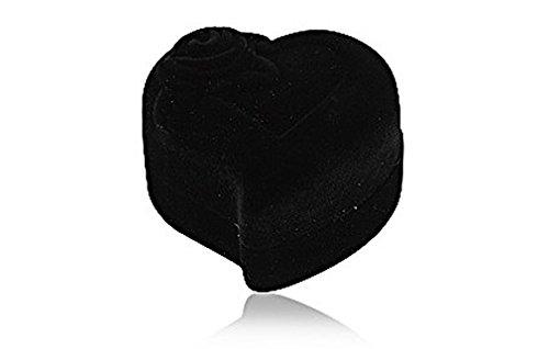 Geschenkbox Herz Ringbox Schmuckschachtel für Ringe und Schmuck überzogen mit Samt schwarz, in Herzform mit Motiv Rose, Ringetui Schmucketui Schmuckschatulle