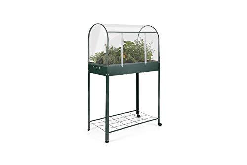 909 OUTDOOR Gartengewächshaus für Pflanzen, Kleines Gewächshaus mit 2 Rädern und 1 Ablage, Transparente PVC-Abdeckung, für Gemüsegarten, Balkon, Terrasse, 80 x 41 x 130 cm