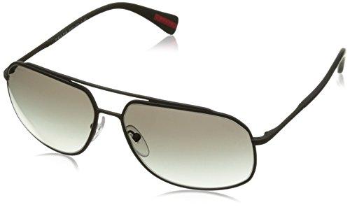 Prada Sport Herren PS56RS DG00A7 60 Sonnenbrille, Schwarz (Black Rubber/Grey),