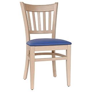 abritus Set 2 Stühle Esszimmerstuhl Küchenstuhl Buche massiv Natur Polster dunkelblau T002