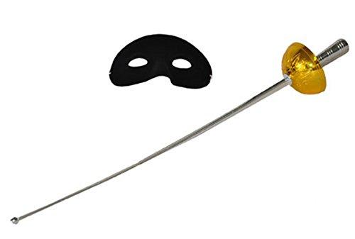 Karnevalsbud - Zorro Kostüm Maske und Schwert Set Zorrokostüm Komplettset, 60cm, Gold - Und Cowboys Aliens-halloween-kostüm