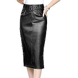 LPATTERN Falda de Tubo Cuero de PU por la Rodilla para Mujer Midi Falda de Piel Sintética Lápiz con Cinturón, Negro, XL/42